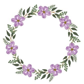 Moldura de círculo com flor roxa e borda de folhas