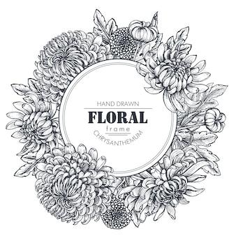 Moldura de círculo com flores de crisântemo