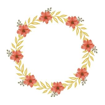 Moldura de círculo com flores laranja e borda de folha amarela para saudação e cartão de casamento