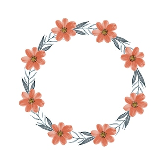 Moldura de círculo com flores laranja e borda de folha para convite de casamento