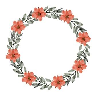 Moldura de círculo com flores laranja e borda de folha verde para saudação e cartão de casamento