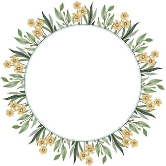 Moldura de círculo com folha verde e borda de flor florescendo amarela