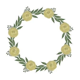 Moldura de círculo com folha verde e borda de rosas amarelas para saudação e cartão de casamento