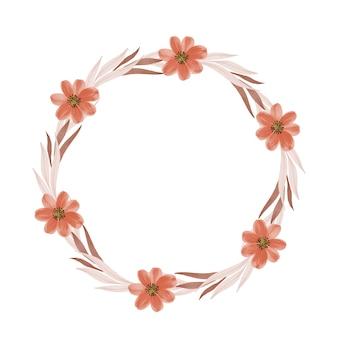 Moldura de círculo com folhas marrons e borda de flor de laranja para saudação e cartão de casamento