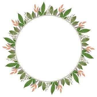 Moldura de círculo com folhas marrons e verdes para saudação e cartão de casamento