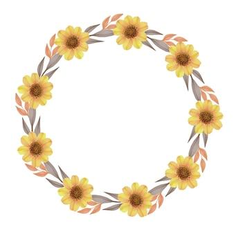 Moldura de círculo com girassol e borda de folha marrom