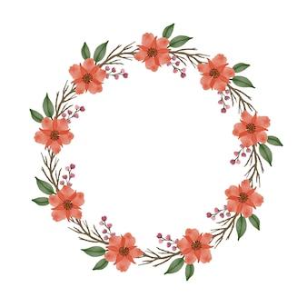 Moldura de círculo com ramo de flores de laranja e borda de folhas