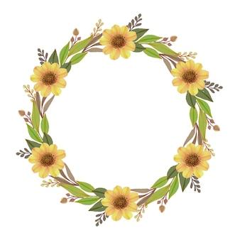 Moldura de círculo de coroa de girassol com flor amarela em aquarela