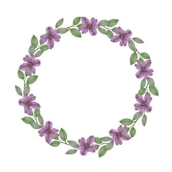 Moldura de círculo de coroa roxa com flor roxa e borda de folhas para cartão
