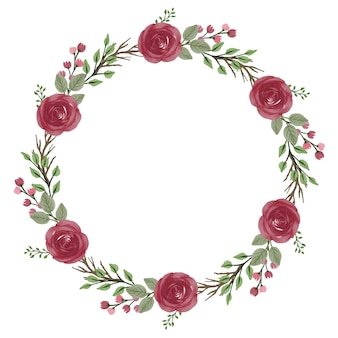 Moldura de círculo de grinalda de rosas vermelhas com rosas vermelhas e borda de folhas