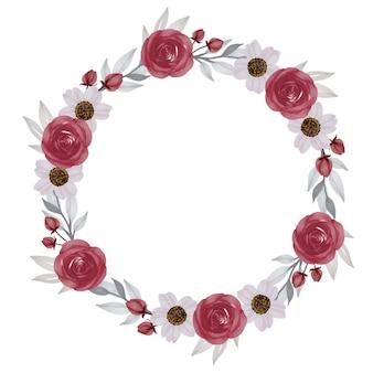Moldura de círculo de guirlanda vermelha e branca com borda de flor vermelha e branca para cartão de felicitações