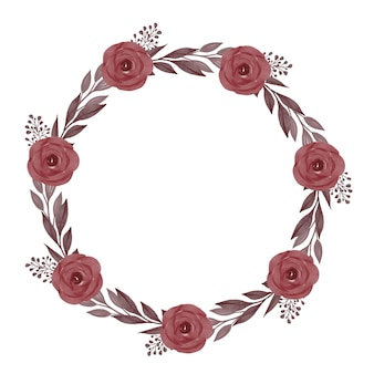 Moldura de círculo de impressão com rosas vermelhas desabrochando e borda de folhas cinza