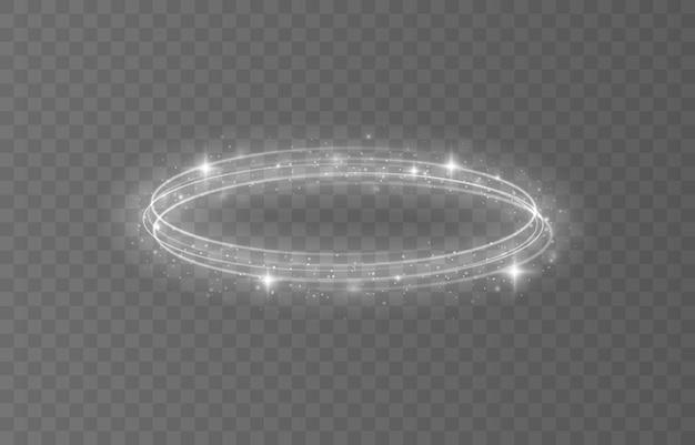 Moldura de círculo de ouro com efeito de luz brilhante um flash dourado voa em um círculo em um anel luminoso