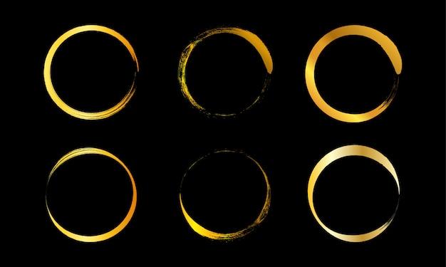 Moldura de círculo dourado, círculo dourado desenhado à mão