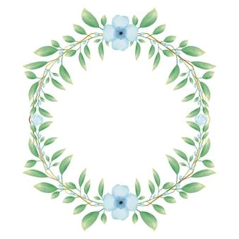 Moldura de círculo dourado com guirlanda floral de flor em aquarela azul