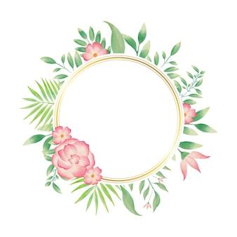 Moldura de círculo dourado com guirlanda floral em aquarela colorida