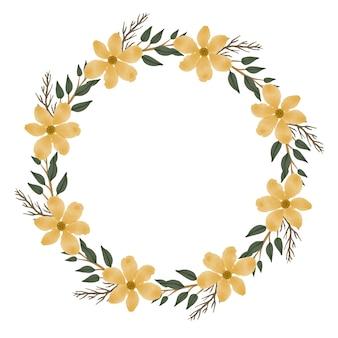 Moldura de círculo em aquarela floral amarelo fresco