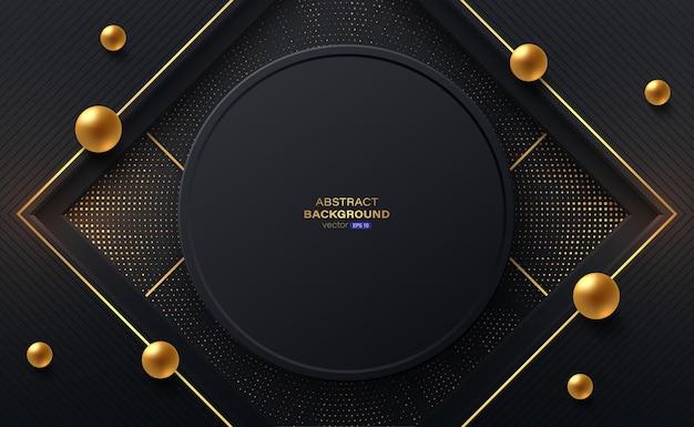 Moldura de círculo preto e listras douradas com padrão de meio-tom dourado radial.