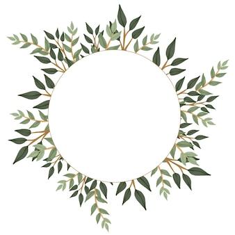 Moldura de círculo simples com borda de eucalipto para cartão de casamento