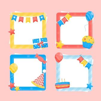 Moldura de colagem de aniversário com design plano colorido