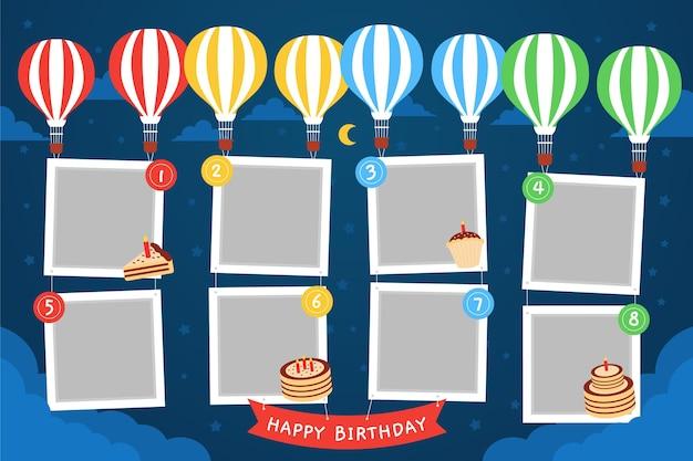 Moldura de colagem de aniversário com design plano de balões
