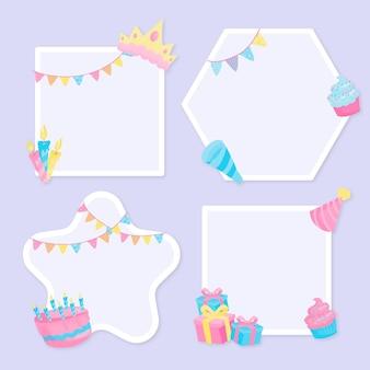 Moldura de colagem de aniversário de design plano