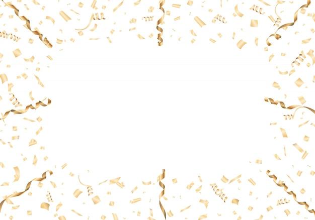 Moldura de confete e serpentina de ouro sobre fundo branco