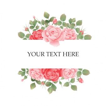 Moldura de convite de casamento com rosas