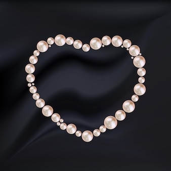 Moldura de coração abstrata de pérolas rosa em seda preta