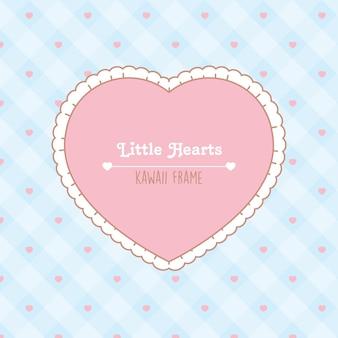 Moldura de coração com padrão sem emenda de corações rosa