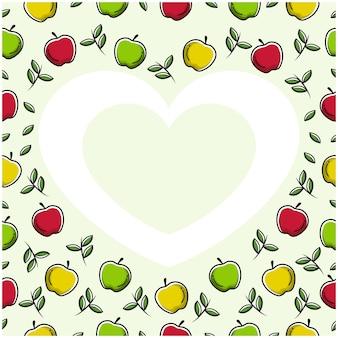 Moldura de coração de amor de maçã com design plano