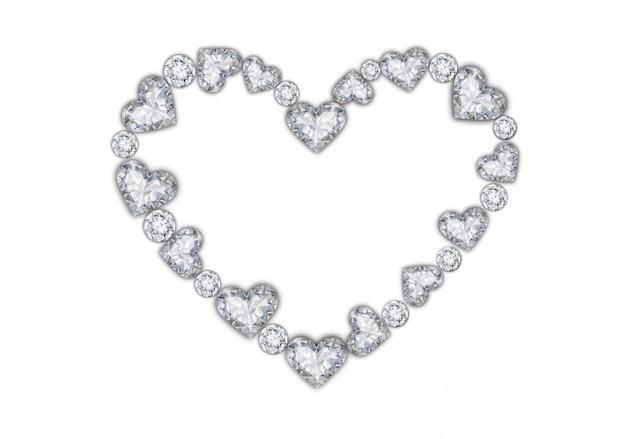 Moldura de coração de diamantes