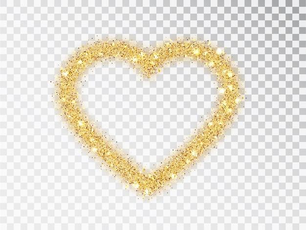 Moldura de coração de glitter dourados com brilhos em fundo transparente. modelo de design de dia dos namorados para cartão, cartaz, convite, folheto, presente, capa. pó de ouro de vetor isolada.