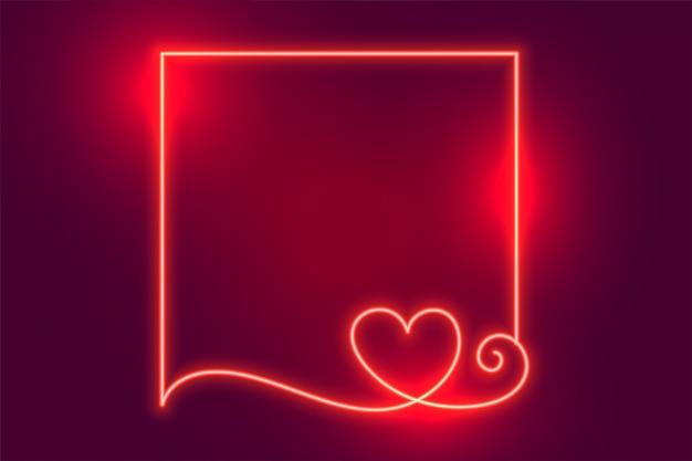Moldura de coração de néon criativo brilhante com espaço de texto