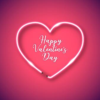 Moldura de coração de néon para dia dos namorados