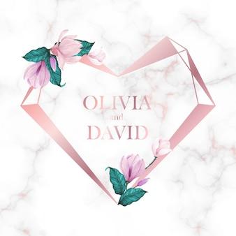 Moldura de coração de ouro rosa com flores sobre fundo de mármore para cartão de logotipo e convite de monograma de casamento