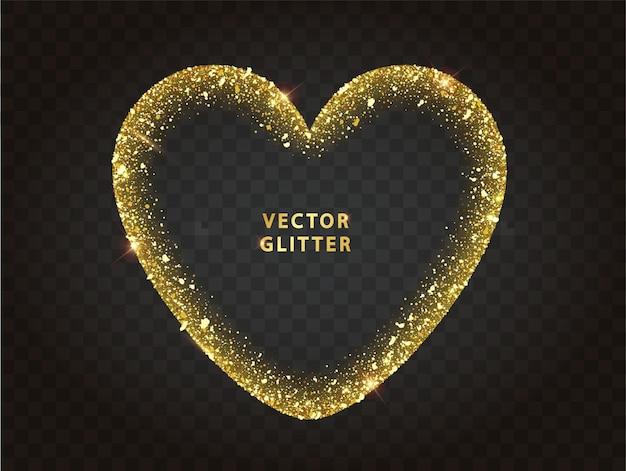 Moldura de coração de purpurina dourada com brilhos. partículas em forma de coração brilhante luminoso abstrato. cenário de luxo. ilustração vetorial