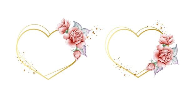 Moldura de coração elegante com lindas rosas