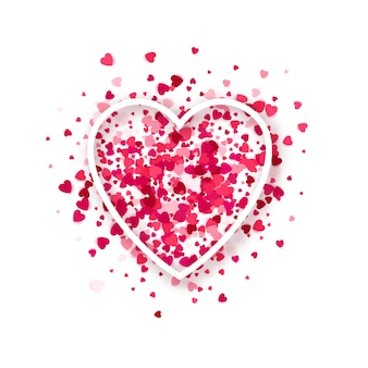 Moldura de coração em fundo de confetes de corações