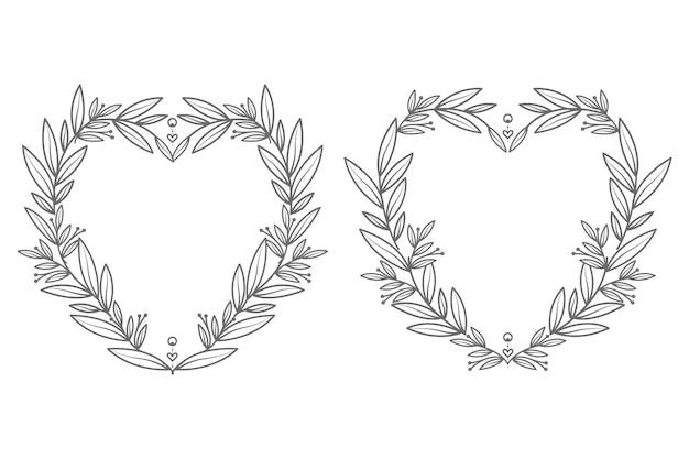 Moldura de coração floral abstrata e decorativa desenhada à mão