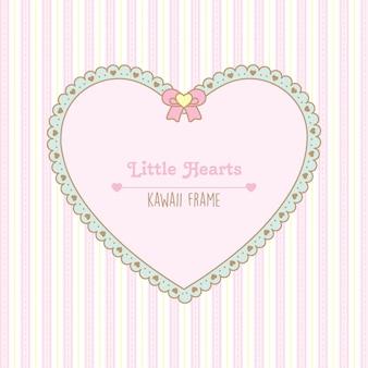 Moldura de coração fofa com corações e pontos de renda e padrão sem emenda