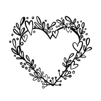 Moldura de coração fofa com folhas e flores em forma de moldura de coração para casamentos
