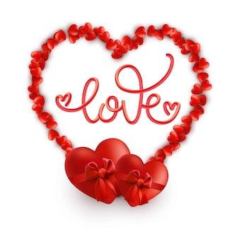 Moldura de coração romântico com a palavra amor.