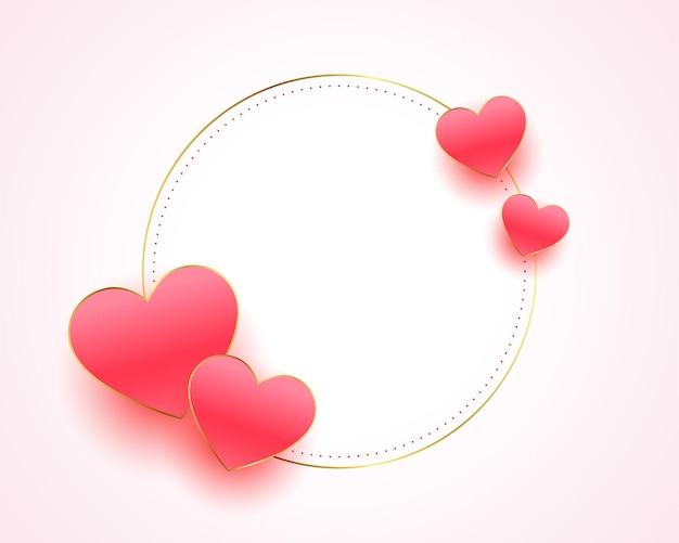 Moldura de corações bonitos para design de mensagem de amor
