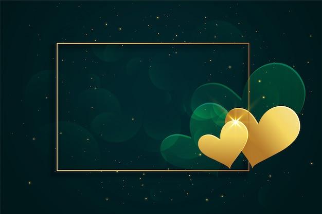 Moldura de corações de ouro brilhante com espaço de texto