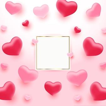 Moldura de corações decorativos