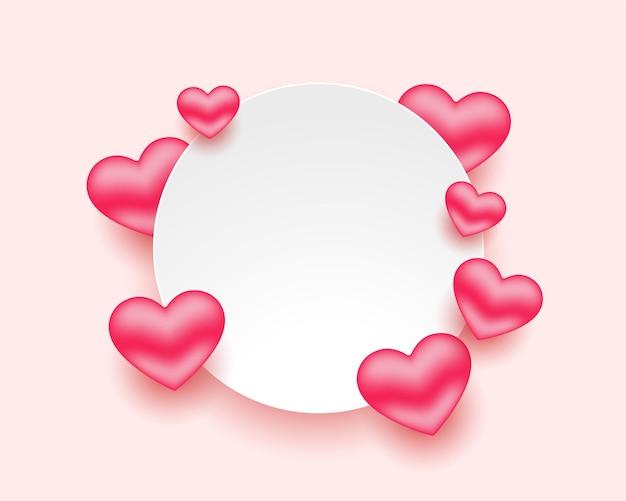 Moldura de corações românticos para o dia dos namorados com espaço de texto