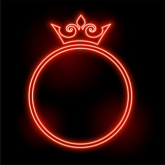 Moldura de coroa de estilo neon com design de espaço de texto