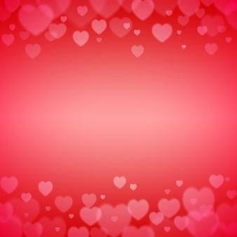 Moldura de dia dos namorados com corações dispersos bokeh