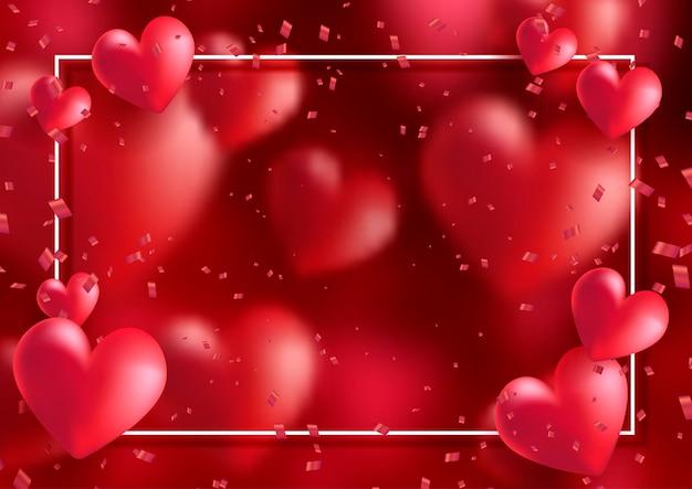 Moldura de dia dos namorados com corações e confetes
